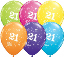 21st Birthday - 11 Inch Balloons 6pcs